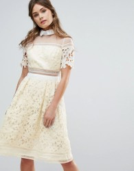 Chi Chi London Premium Lace Panelled Dress With Contrast Collar - Yellow