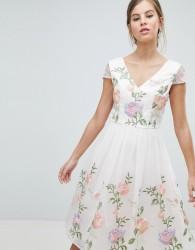 Chi Chi London Premium Lace Prom Dress in Multi Embroidery - Multi