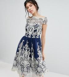 Chi Chi London Premium Metallic Lace Midi Prom Dress with Bardot Neck - Navy