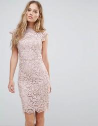 Chi Chi London Scallop Lace Pencil Dress - Stone