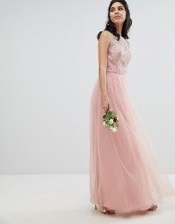 Chi Chi London Sleeveless Maxi Dress with Premium Lace and Tulle Skirt - Pink