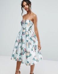 Chi Chi London Structured Bandeau Midi Dress - Multi