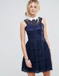 Chi Chi London Structured Lace Skater Dress With Contrast Collar - Navy