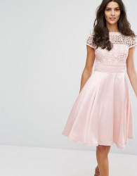 Chi Chi London Structured Midi Dress With Lace Upper - Pink