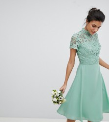 Chi Chi London Tall 2 in 1 High Neck Midi Dress with Crochet Lace - Green
