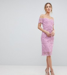 Chi Chi London Tall Lace Bandeau Midi Dress with Sweetheart Neck - Pink