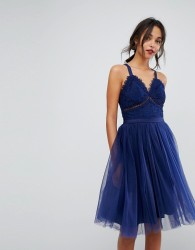 Chi Chi London Tulle Midi Dress With Lace Detail - Navy
