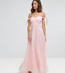 Chi Chi Petite Floaty Maxi Dress With Bow Shoulder Detail - Pink