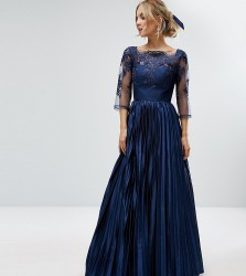 Chi Chi Petite Lace Top Maxi Dress With Pleated Skirt - Navy