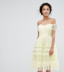 Chi Chi Petite Premium Lace Off The Shoulder Panelled Lace Midi Dress - Yellow