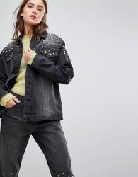 Chorus Pearl Embellished Oversized Denim Jacket - Black