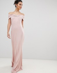 City Goddess Bardot Maxi Dress With Metal Detail - Pink