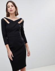 City Goddess Cross Over Midi Dress - Black