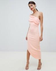 City Goddess One Shoulder Dress With Asymetric Hem - Pink