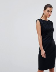 City Goddess Sleeveless Lace Midi Dress - Black