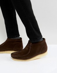 Clarks Originals Wallabee Suede Boots In Brown - Brown