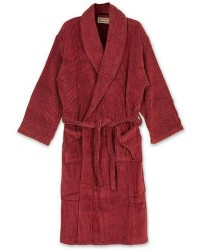 Cleverly Laundry Striped Cotton Terry Robe Smoky Red men 2 - M Rød
