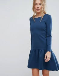 Closet Fluted Hem Long Sleeve Dress - Blue