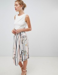 Closet London 2 in 1 pencil dress with contrast floral skirt - Multi