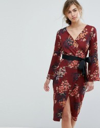 Closet London Allover Floral Wrap Pencil Dress With Belt - Multi