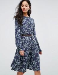 Closet London Belted 3/4 Sleeve Printed Skater Dress - Multi