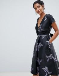 Closet London capped sleeve printed skater midi dress - Multi