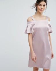 Closet London Cold Shoulder Mini Dress - Pink