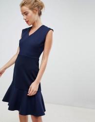 Closet London drop hem mini skater dress in navy - Navy