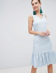 Closet London Drop Hem Sleeveless Dress - Blue