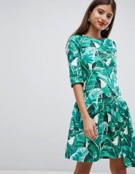 Closet London Drop Hem Tropical Print Dress - Multi