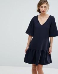 Closet London Drop Waist Mini Dress - Navy
