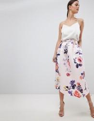Closet London Floral Skirt - Pink