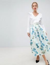 Closet London full prom midi skirt in floral print - Multi