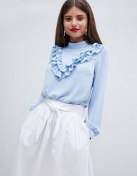 Closet London High Neck Blouse With Frill V - Blue