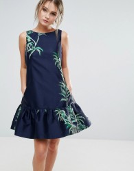 Closet London Jacquard Trapeze Dress - Navy