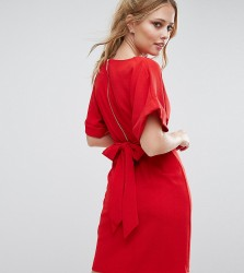 Closet London Kimono Sleeve Midi Dress With Tie Back Detail And Split Front - Red