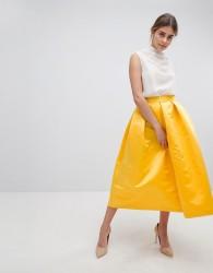 Closet London London Full Prom Sateen Midi Skirt - Yellow