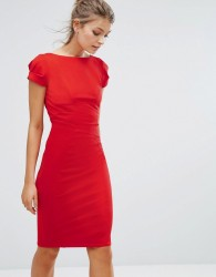 Closet London Pencil Dress With Ruched Cap Sleeve - Red