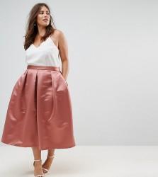 Closet London Plus Full Prom Sateen Midi Skirt - Orange