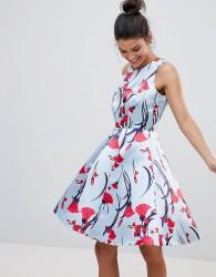 Closet London Premium Prom Sateen Skater Dress In Floral Fan Print - Multi
