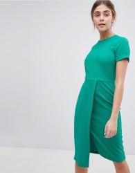 Closet London Short Sleeve Wrap Over Detail Dress - Green