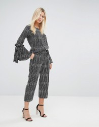 Closet London Stripe Tailored Trousers with D Ring Belt - Multi