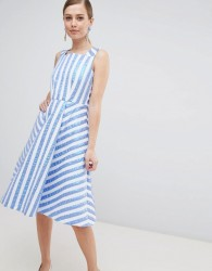 Closet London Striped Midi Prom Dress - Blue