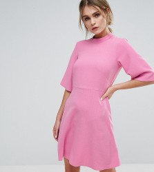 Closet London Swing Dress with High Neck - Pink