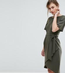 Closet London Tie Front Dress With Kimono Sleeve - Green