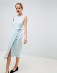 Closet London tie v-back pencil dress in sky blue - Blue