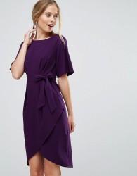 Closet London Wrap Front Pencil Dress With Obi Belt - Multi