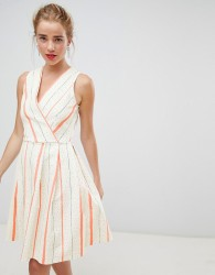 Closet London wrap front skater dress in contrast stripe - Multi