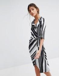 Closet London Wrap Front Striped Dress - Multi