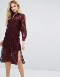 Closet Long Sleeve Collared Lace Shirt Dress - Red